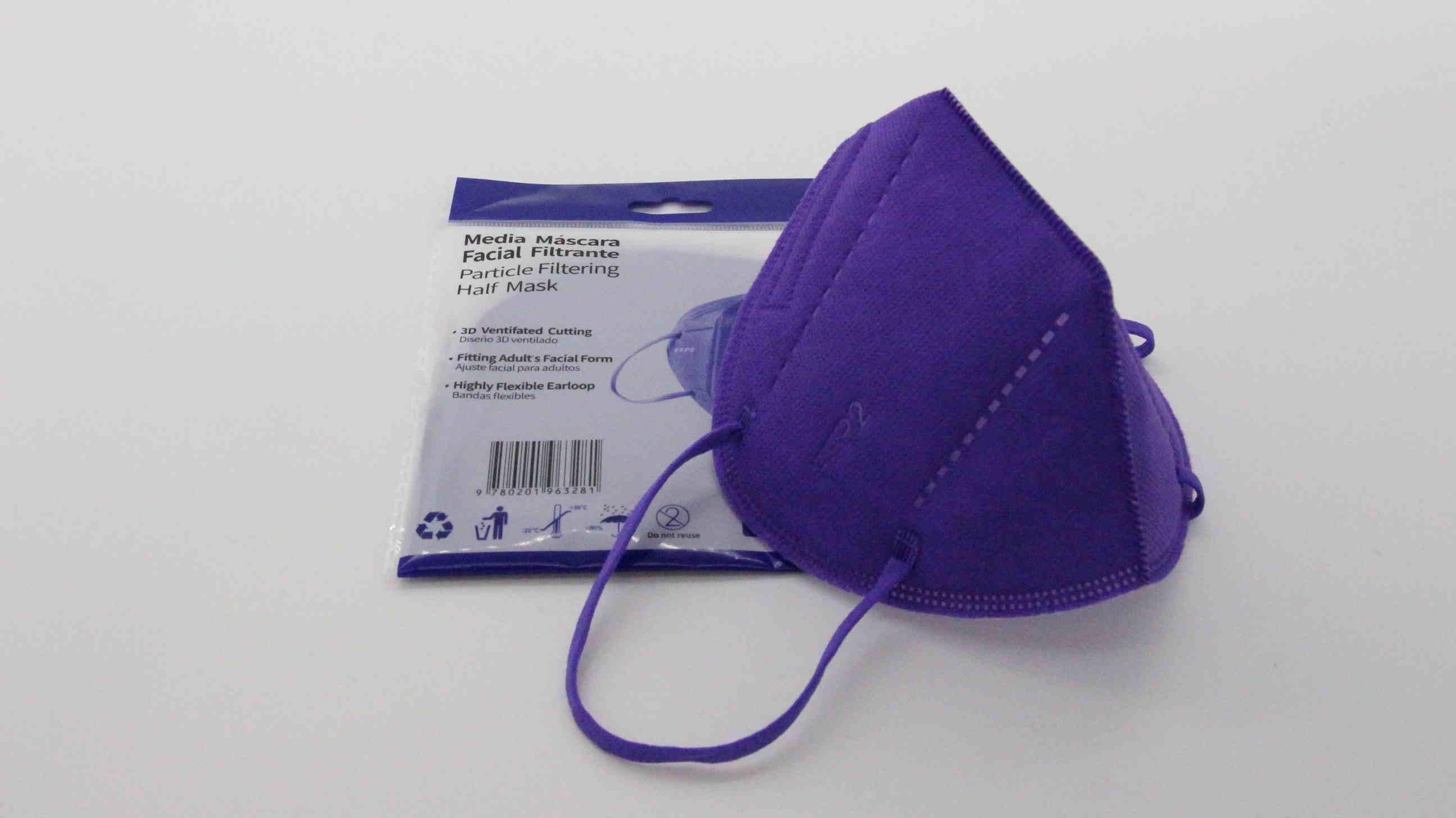 Violette FFP2 Maske ohne Ventil mit Nasenbügel