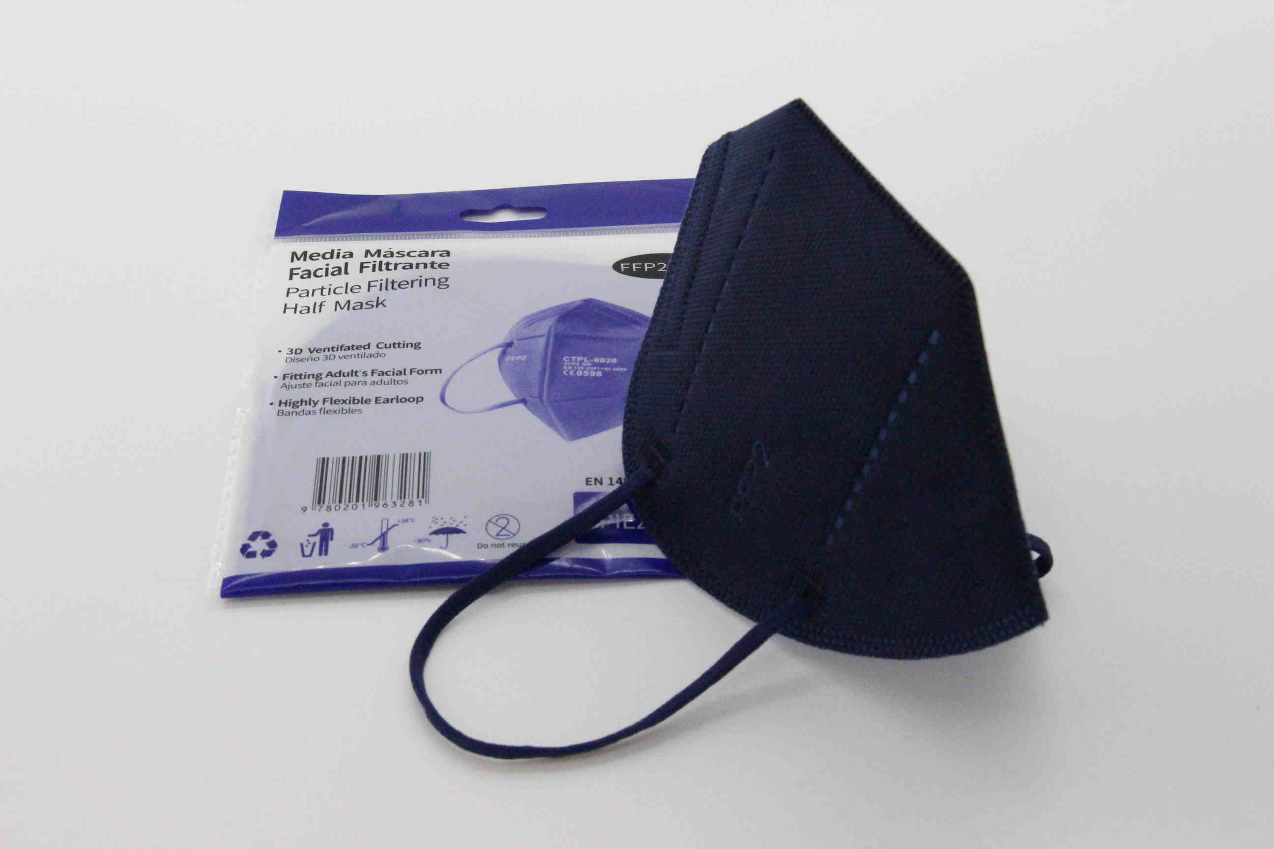 Dunkelblaue FFP2 Maske ohne Ventil mit Nasenbügel