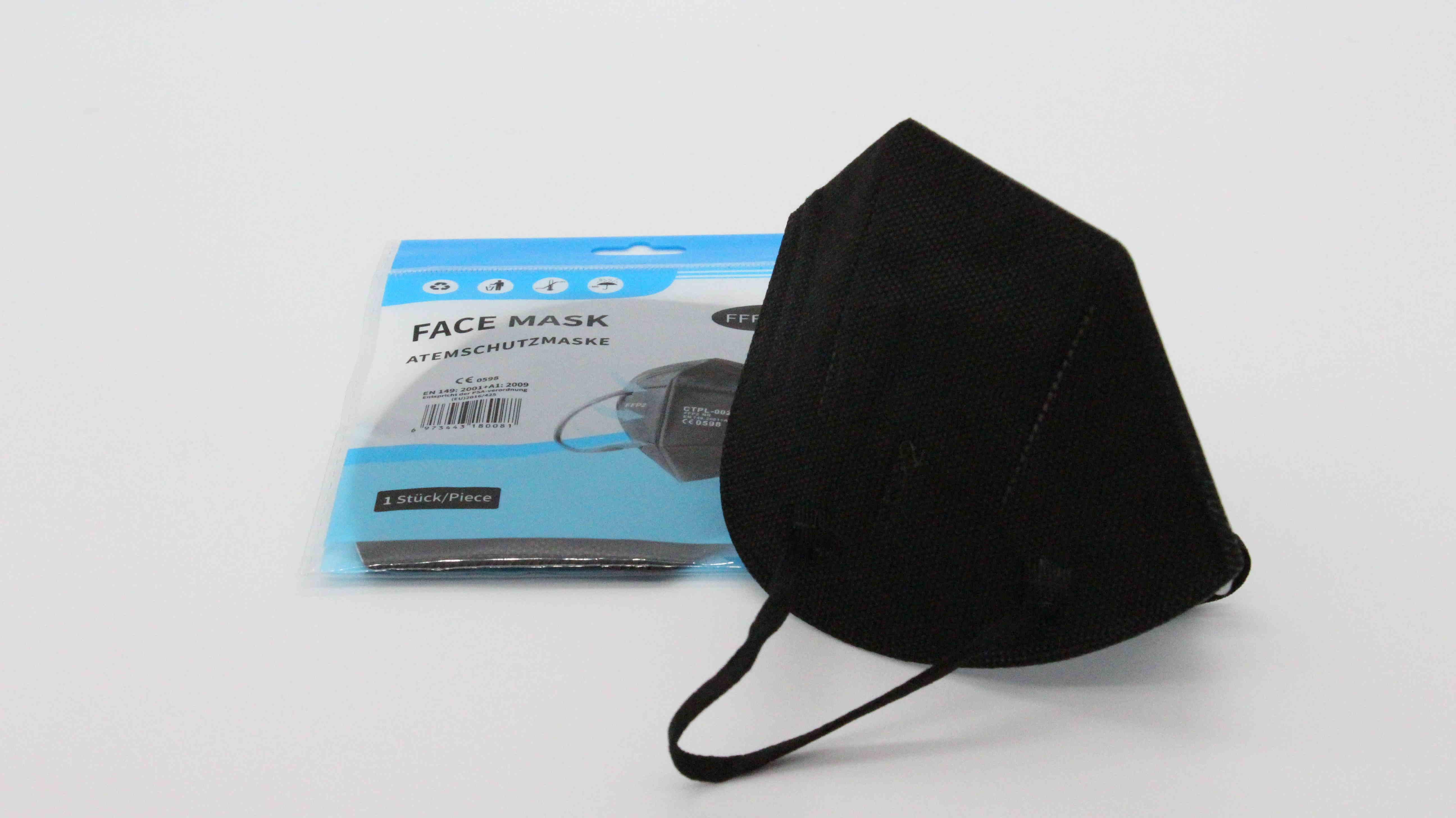Schwarze FFP2 Maske ohne Ventil mit Nasenbügel